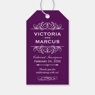 Purple Wedding Wine Bottle Monogram Favor Tags