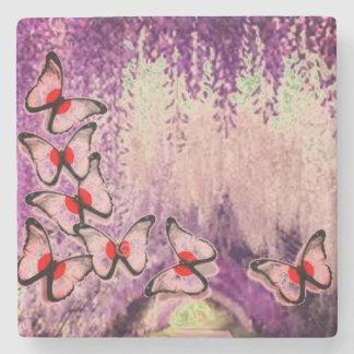 Purple Weeping Butterfly Tree Stone Coaster