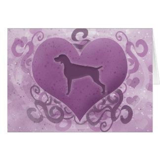Purple Weimaraner Valentine's Day Card