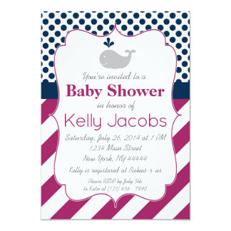 Purple Whale Baby Shower Invitation