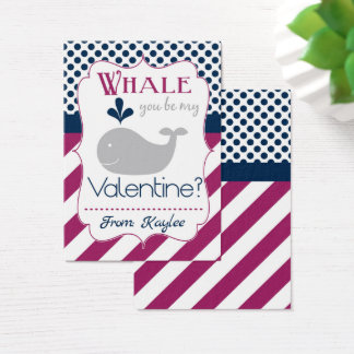 Purple Whale Pun Valentine Business Card