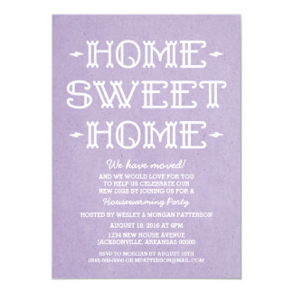 Purple Whimsical Sweet Home Housewarming Party 13 Cm X 18 Cm Invitation Card