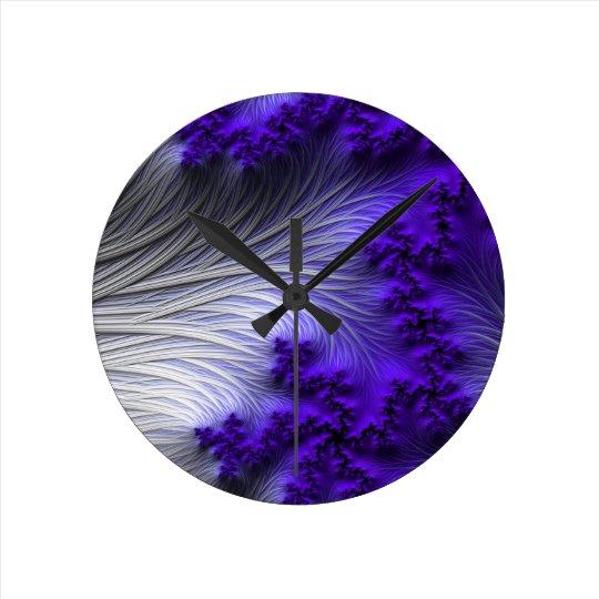 Purple white 3D abstract art clock