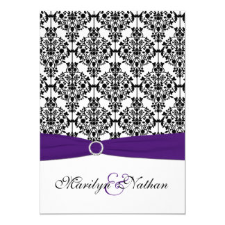 Purple, White and Black Damask II Invitation