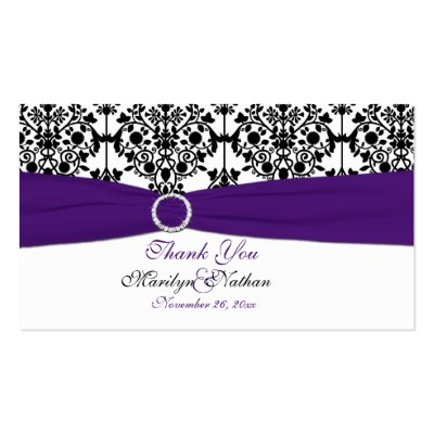 Purple White and Black Damask Wedding Favour Tag Business Card Template by