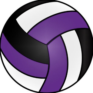 Volleyball purple. Coaches stickers labels zazzle