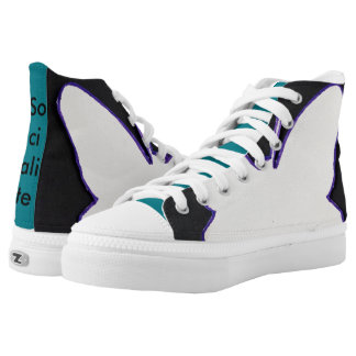 PURPLE, WHITE AND BLACK WINGS HIGH TOP SHOE PRINTED SHOES