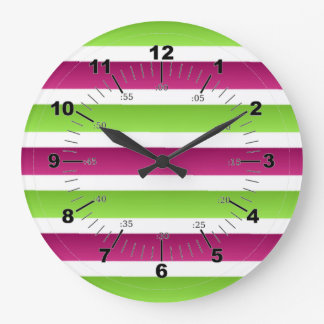 Purple/ White And Green Stripes Large Clock