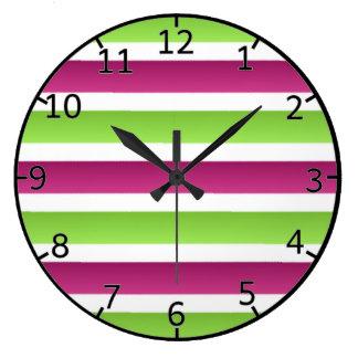 Purple/ White And Green Stripes Wallclocks