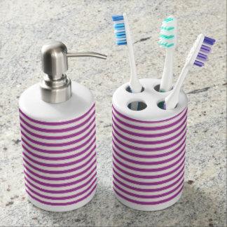 Purple, White and Pink Stripes Bathroom Set