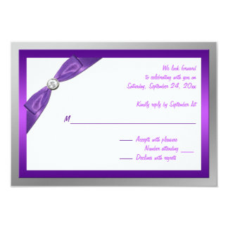 Purple, White, and Silver with Crystal Reply Card 9 Cm X 13 Cm Invitation Card