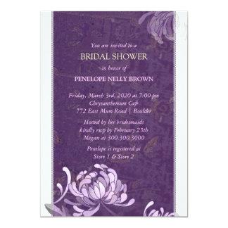 Purple & White Asian Mum Modern Bridal Shower Card