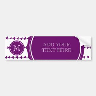 Purple White Aztec Arrows Monogram Bumper Sticker