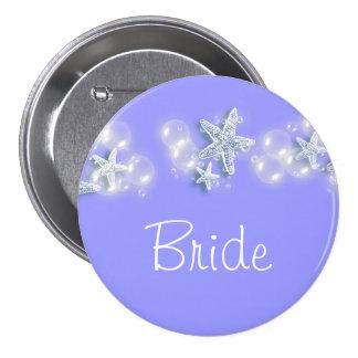 Purple white beach bride bridal 7.5 cm round badge