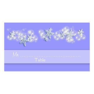 Purple white beach starfish wedding business card