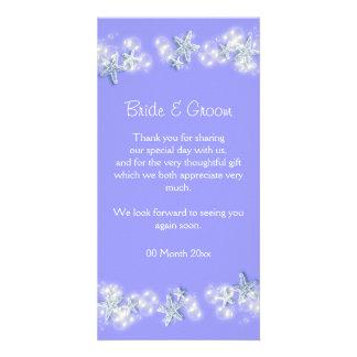 Purple white beach starfish wedding picture card