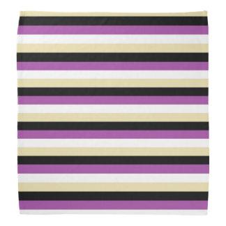 Purple, White, Beige and Black Stripes Bandana