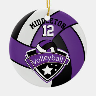 Purple, White & Black Personalize Volleyball Christmas Ornament