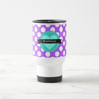 Purple White Blue Polka Dot Pattern Travel Mug