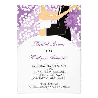 Purple White Bride Bridal Shower Invitation