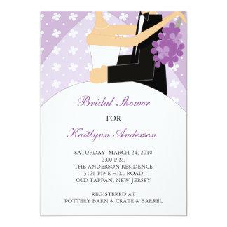 Purple & White Bride Bridal Shower Invitation