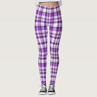 Purple/White/Brown Winter Plaid Leggings