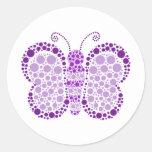 Purple & White Butterfly Elegant Baby Shower Seal Round Sticker