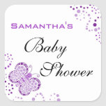 Purple & White Butterfly Elegant Baby Shower Square Sticker