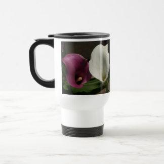 """Purple White Calla Lilies"" Travel Mug"