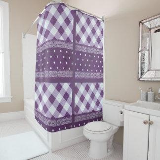 Purple White Checkered Polka Dot Floral Damask art Shower Curtain
