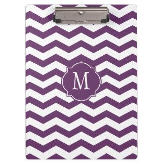 Purple & White Chevron Monogram Clipboard