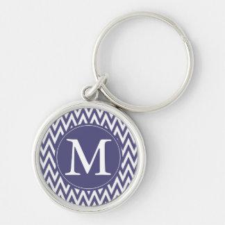 Purple White Chevron monogram Key Chain