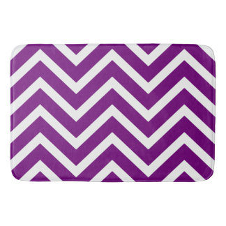 Purple white chevron Pattern modern bath mat Bath Mats