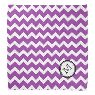 Purple White Chevron Pattern Monogram Bandana