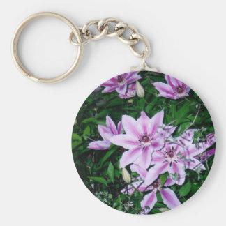 Purple White Clematis Keychain