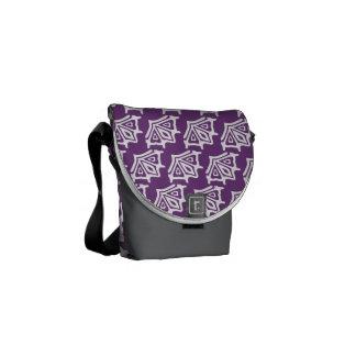 Purple White Cross-Body Messenger Bag