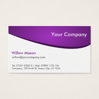 Purple & White Curved, Professional Business Card