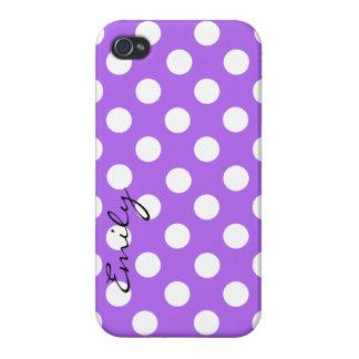 Purple & White Custom Polka Dot iPhone 4 Case