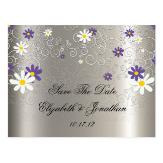 Purple White Daisies Swirls on Silver Save The Dat Post Card
