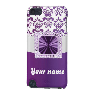 Purple & white damask customizable text iPod touch 5G cover