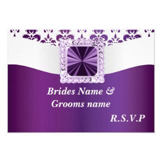 Purple white damask personalized invite