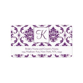 Purple White Damask Monogram Wedding Address Label