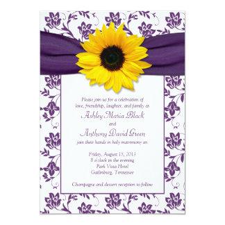 "Purple White Damask Sunflower Wedding Invitation 5"" X 7"" Invitation Card"