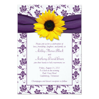 Purple White Damask Sunflower Wedding Invitation