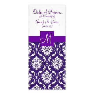 Purple White Damask Wedding Program Announcements