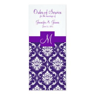 Purple White Damask Wedding Program 10 Cm X 24 Cm Invitation Card