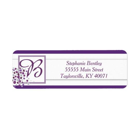 Purple White Diamond Wedding Return Address Label