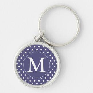 Purple White Dots monogram Key Chain