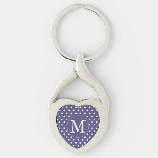 Purple White Dots Monogram Silver-Colored Heart-Shaped Metal Keychain
