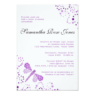 Purple & White Dragonfly Elegant Baby Shower 13 Cm X 18 Cm Invitation Card